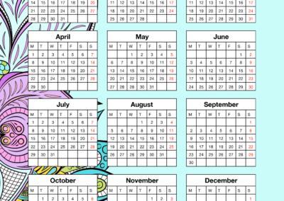 12 Month Vertical Calendar
